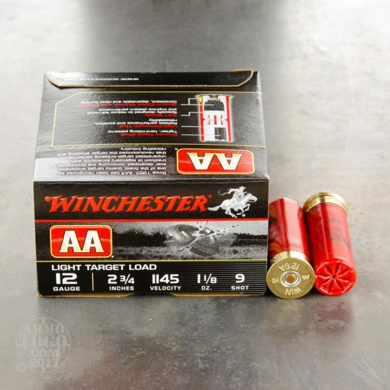 "25rds - 12 Gauge Winchester AA Light Target 1 1/8 Ounce 2 3/4"" #9 Shot Ammo"