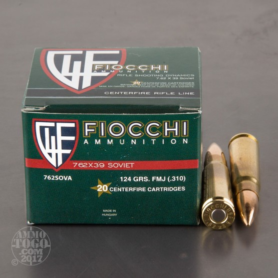 1000rds - 7.62x39 Fiocchi 124gr. FMJ Brass Cased Ammo