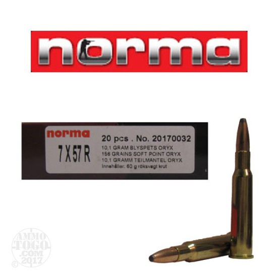 200rds - 7mm Mauser Rimmed (7x57R)  Norma 158gr. Oryx SP Ammo