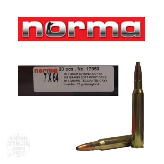 200rds - 7x64 Norma 158gr. Oryx SP Ammo