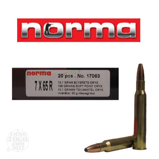 20rds - 7x65 Rimmed Norma 156gr. Oryx SP Ammo