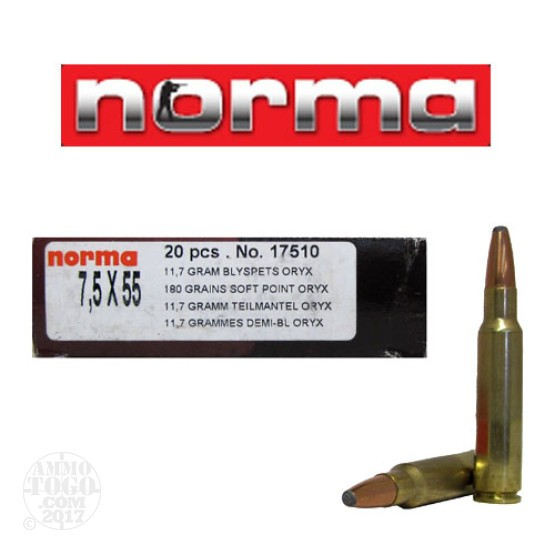 20rds - 7.5 Swiss Norma Oryx 180gr. Soft Point Ammo