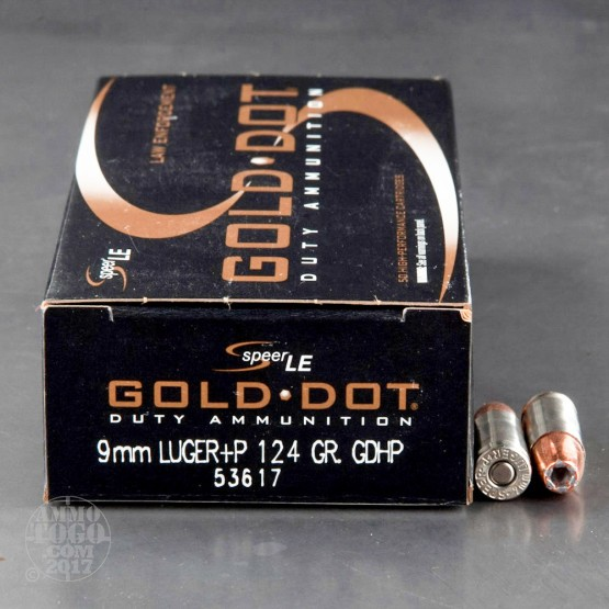 50rds - 9mm Speer LE Gold Dot 124gr. +P HP Ammo