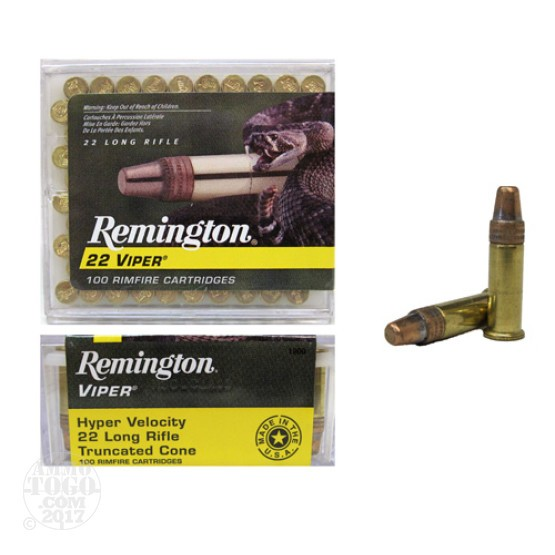 500rds - 22LR Remington Viper 36gr HV Truncated Solid Base Ammo