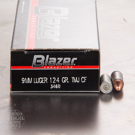 50rds - 9mm Blazer 124gr. TMJ Clean-Fire Ammo