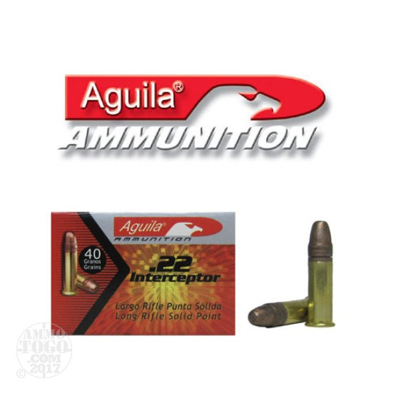 50rds - 22LR Aguila Interceptor 40gr. Solid Point Ammo