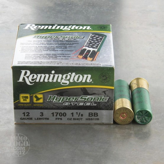 "25rds - 12 Gauge Remington HyperSonic  3"" 1 1/8 oz. #BB Non-Toxic Steel Shot Ammo"