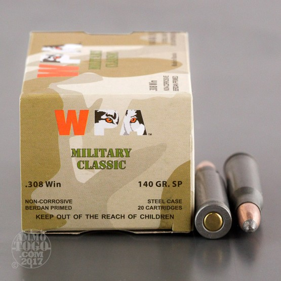 20rds – 308 Wolf WPA 140gr. Soft Point Ammo