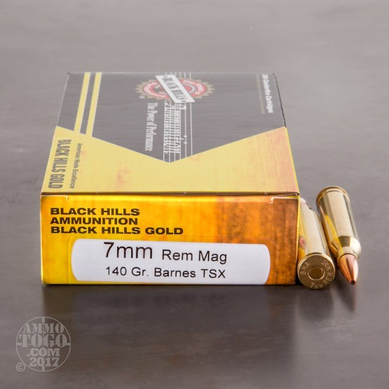 20rds - 7mm Rem Mag Black Hills Gold 140gr. Barnes Triple Shock HP Ammo