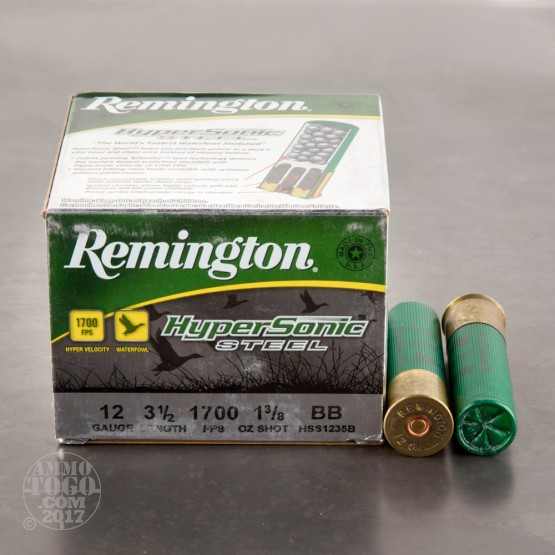 "25rds - 12 Gauge Remington HyperSonic Steel 3 1/2"" 1 3/8oz. #BB Shot Ammo"