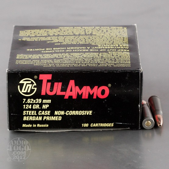 100rds – 7.62x39mm Tula Cartridge Works 124gr. HP Ammo