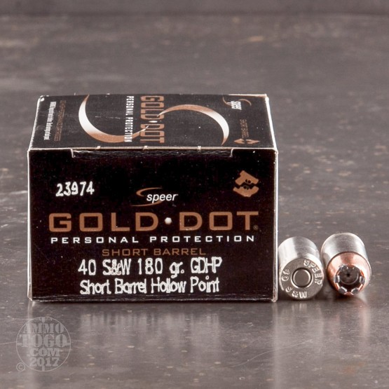 20rds - 40 S&W Speer Gold Dot Short Barrel 180gr. HP Ammo