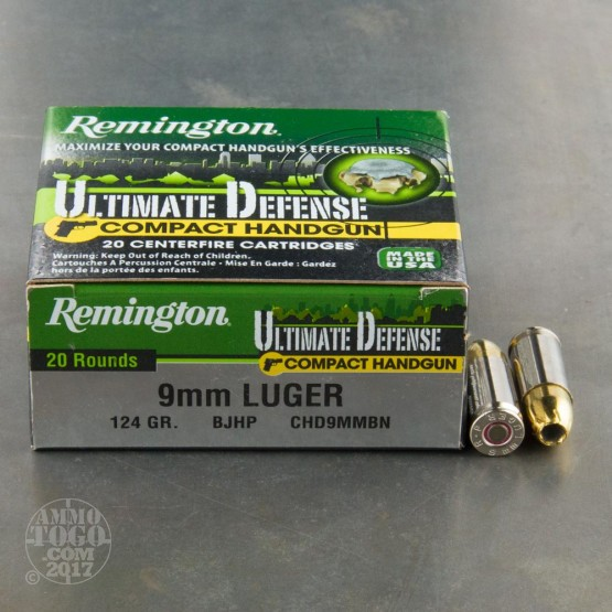 500rds - 9mm Remington Ultimate Defense Compact Handgun 124gr. BJHP Ammo