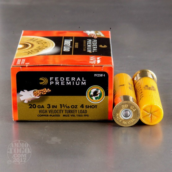 "100rds - 20 Gauge Federal Mag-Shok 3"" 1 5/16oz. #4 Turkey Load"