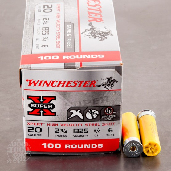 "100rds - 20 Gauge Winchester Xpert Steel Game Load 2 3/4"" 3/4oz. #6 Shot"