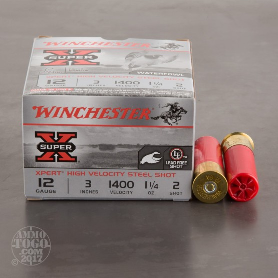 "25rds - 12 Gauge Winchester Super-X Waterfowl 3"" 1-1/4 Ounce #2 Shot Ammo"