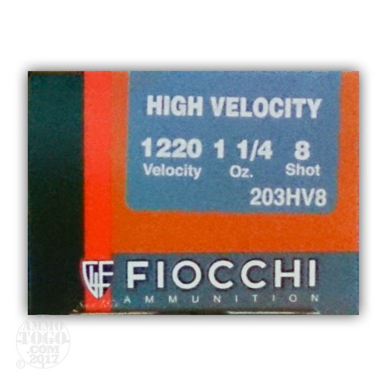 "25rds - 20 Gauge Fiocchi High Velocity 3"" 1-1/4 Ounce #8 Shot Ammo"