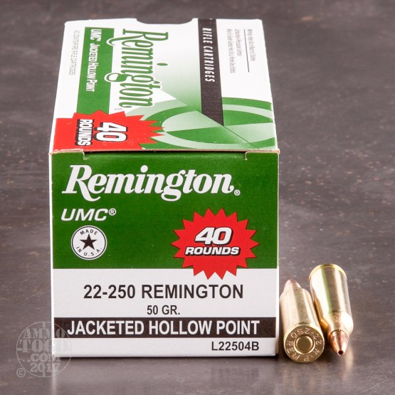40rds - 22-250 Remington UMC 50gr. Jacketed Hollow Point Ammo