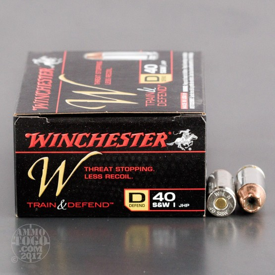 20rds - 40 S&W Winchester W Train and Defend 180gr. JHP Ammo