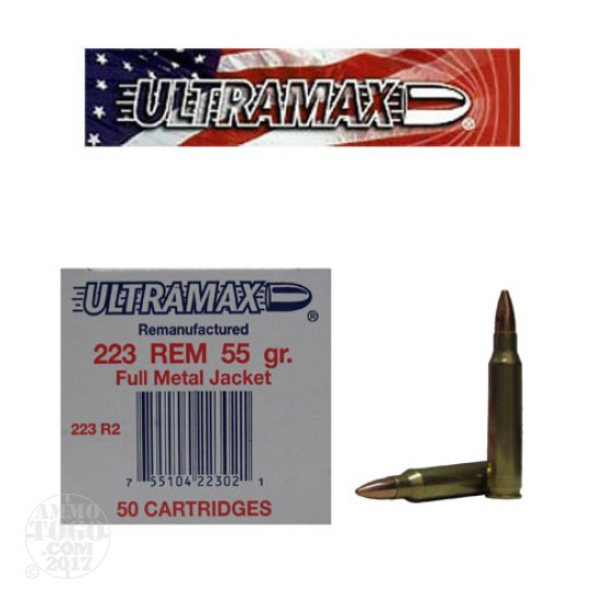 50rds - 223 Ultramax 55gr. FMJ Remanufactured Ammo