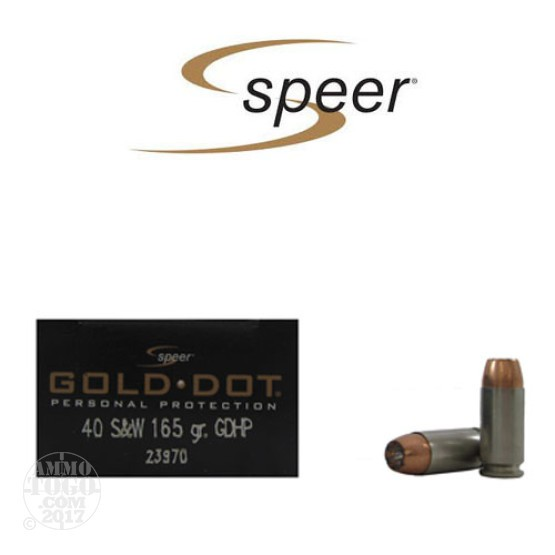 20rds - 40 S&W Speer Gold Dot 165gr. HP Ammo