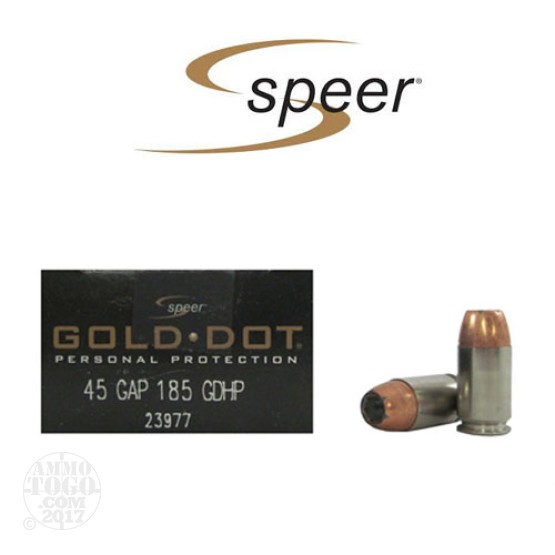 20rds - 45 Gap Speer Gold Dot 185gr. HP Ammo
