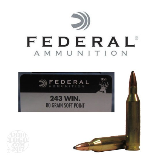 20rds - 243 Win. Federal Power-Shok 80gr. SP Ammo