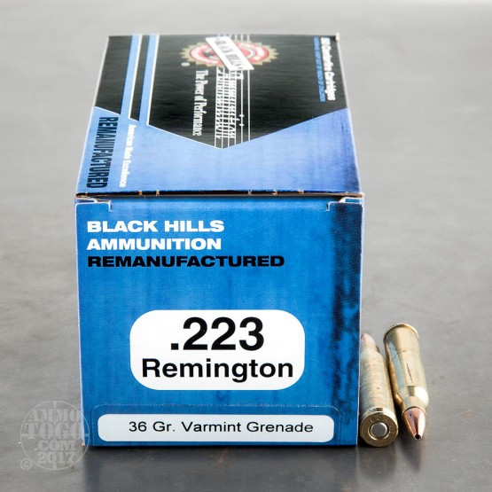 500rds - 223 Black Hills 36gr. Remanufactured Varmint Grenade HP Ammo