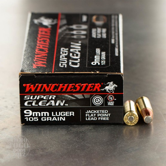 50rds - 9mm Winchester 105gr. Super Clean Non-Toxic JSP Ammo