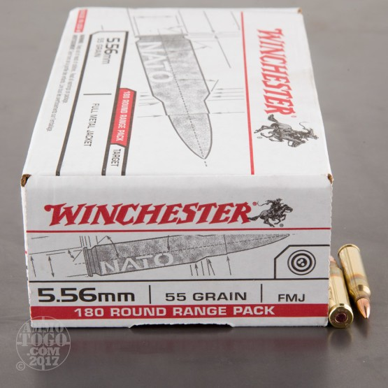 180rds - 5.56x45mm Winchester USA 55gr. FMJ Ammo