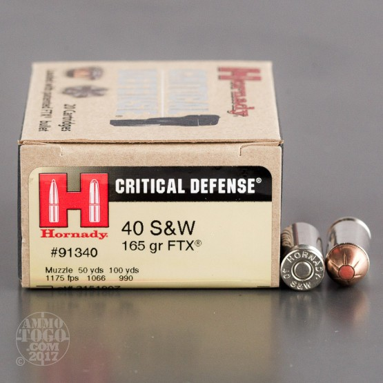 20rds - 40 S&W Hornady Critical Defense 165gr. HP Ammo