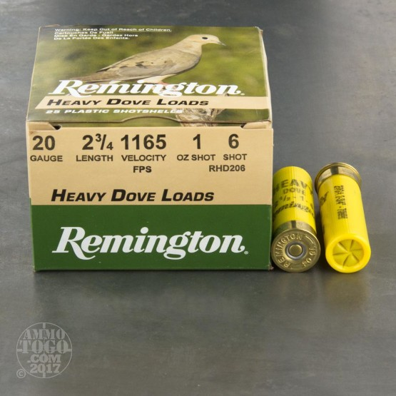 "25rds - 20 Gauge Remington Heavy Dove Load 2 3/4"" 1oz. #6 Shot Ammo"