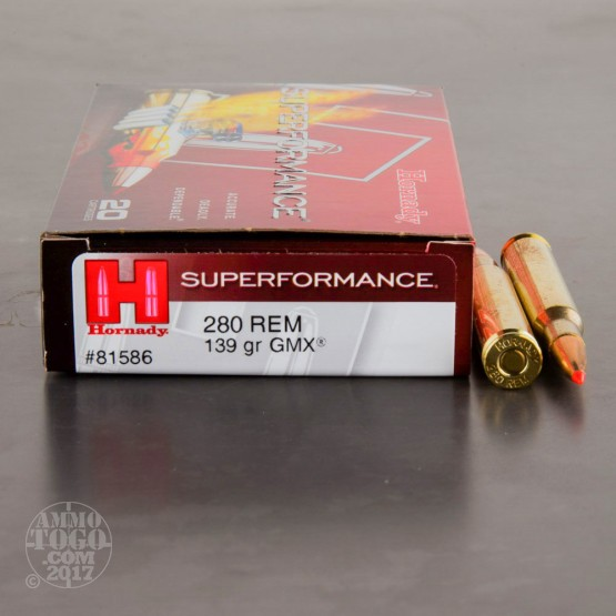 20rds - 280 Rem. Hornady Superformance 139gr. GMX Ammo