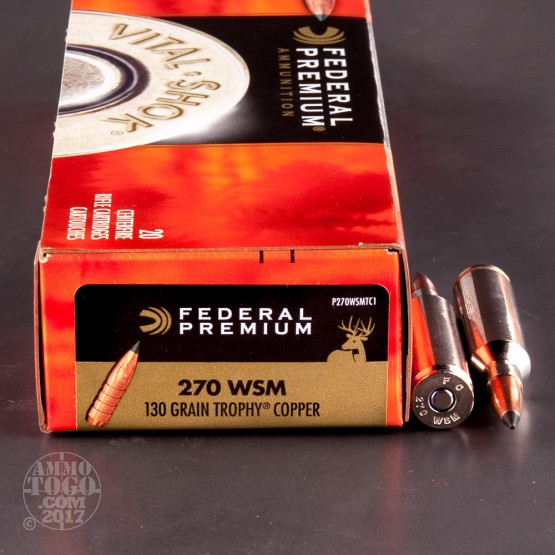 20rds - 270 WSM Federal Vital-Shok 130gr. Trophy Copper Ammo