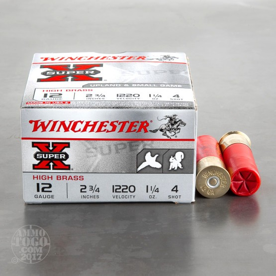 "250rds - 12 Gauge Winchester Super-X Heavy Field Load 2 3/4"" 1 1/4oz. #4 Shot"