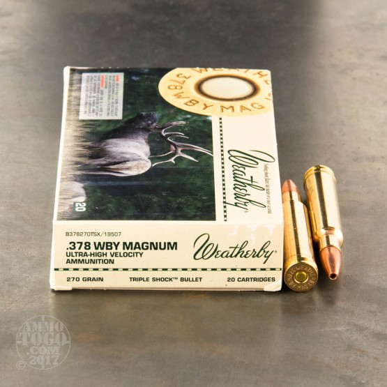 20rds - 378 Weatherby Mag 270 gr. Triple Shock