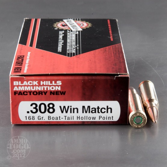 100rds - 308 Black Hills 168gr. Match Boat-Tail Hollow Point Ammo