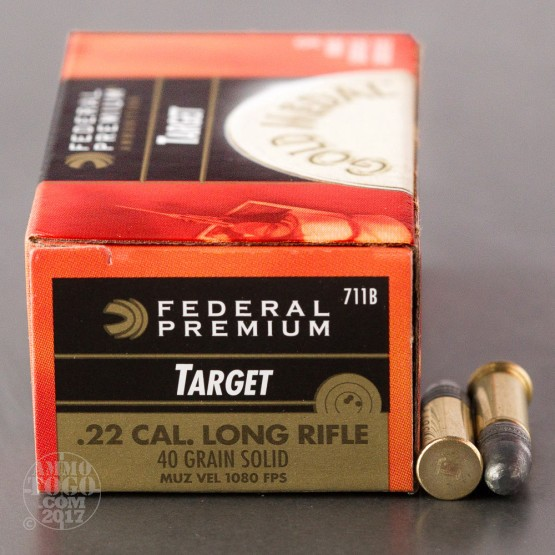 50rds - 22LR Federal Gold Medal Target 40gr. Solid Point Ammo