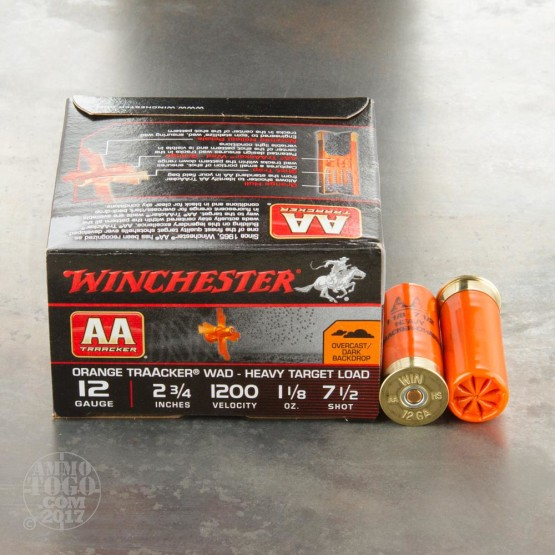 "25rds - 12 Gauge Winchester AA TrAAcker Orange Wad 2-3/4"" 1-1/8 Ounce #7.5 Shot Ammo"