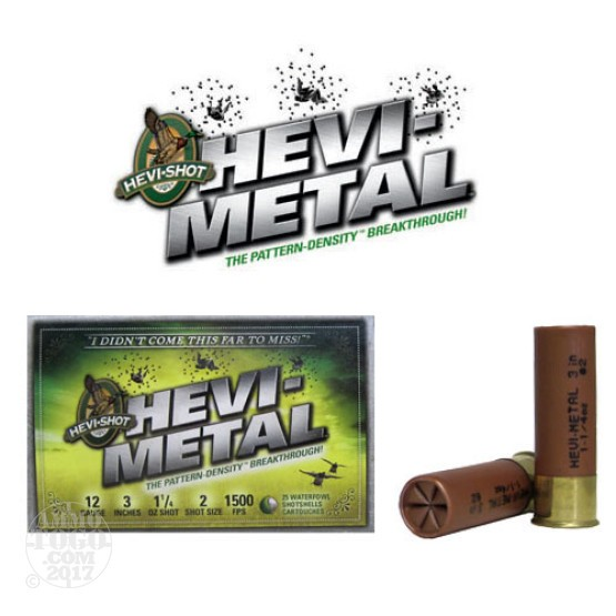 "250rds - 12 Ga. Hevi-Shot 3"" 1 1/4oz Waterfowl #2 Hevi-Metal Ammo"