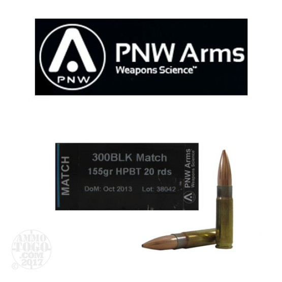 20rds - 300 AAC BLACKOUT PNW Arms 155gr. HPBT Match Ammo