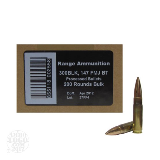 200rds - 300 AAC BLACKOUT PNW Arms 147gr. FMJ BT Bulk Pack Ammo