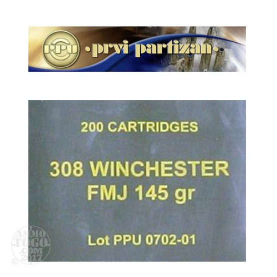 200rds - .308 Prvi Partizan 145gr. FMJ Sealed Military Battle Pack Ammo