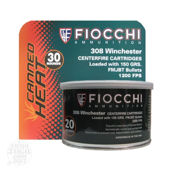 200rds - 308 Fiocchi Canned Heat 150gr Full Metal Jacket BT Ammo