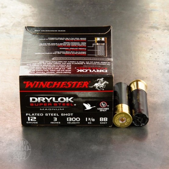 "25rds - 12 Gauge Winchester Drylok Waterfowl 1 3/8 Ounce 3"" (#BB) Ammo"