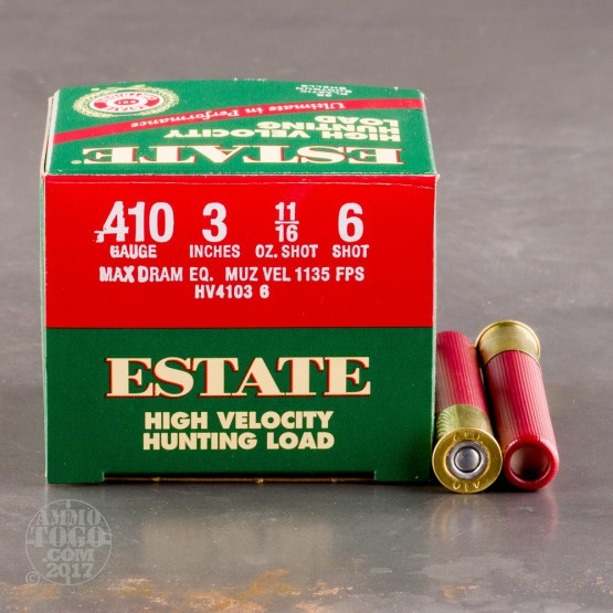 "25rds - 410 Gauge Estate HV Hunting 3"" Max Dram 11/16oz. #6 Shot Ammo"