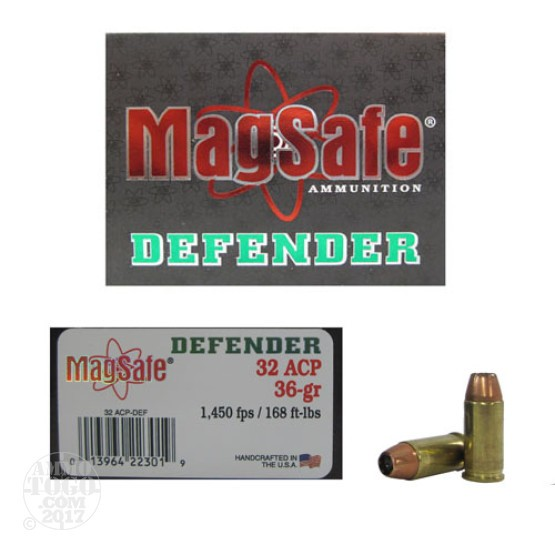 10rds - 32 Auto Magsafe 36gr. Defender HP Ammo
