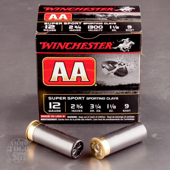 """250rds - 12 Gauge Winchester AA Sporting Clay 2 3/4"""" 1 1/8 Ounce #9 Shot Ammo"""