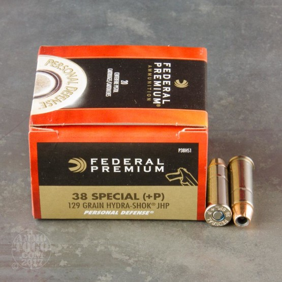 20rds - 38 Special Federal Hydra-Shok 129gr. +P HP Ammo