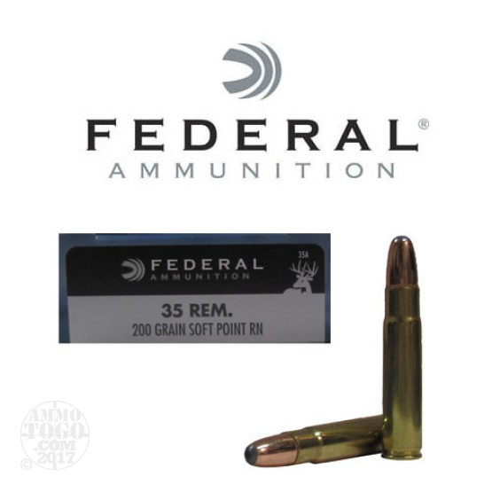 20rds - 35 Rem. Federal Power Shok 200gr. Soft Point RN Ammo
